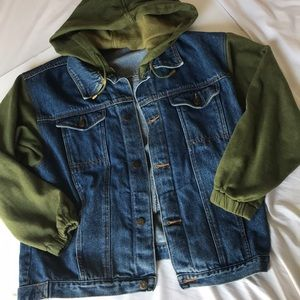 Blue jean hooded jacket with sweater sleeves